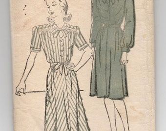 "1940's One-Piece Dress with Bow Detail and Collared Neck Pattern by New York - Bust 38"" - No. 164"