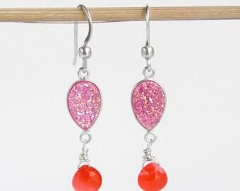 Pink Druzy Earrings, Orange Chalcedony, Gemstone Drop Earrings, Tangerine, Sterling Silver