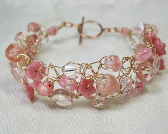 Pink Wire Crochet Bracelet, bead crocheted bracelet, handmade beaded jewelry