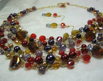 Red, Purple and Gold Wire Crochet Necklace Set, crocheted bead necklace, handmade beaded jewelry