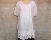 White Linen Tunic XL Top Boho Gypsy Hippie Upcycled Upscaled Altered Clothing Eco Chic