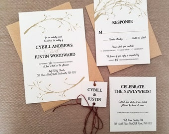 Rustic,  Birch Tree, Barn, Branch,  Wedding Invitation Suite- Black and White / Kraft Paper and Twine