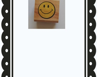 Rubber Stamp, Wood Mounted, Smile, smiley face stamp,  Scrapbook supplies,Cardmaking supplies,Planner Supplies