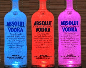 1.75 Liter Absolut Vodka Color Changing Remote Control RGB LED Liquor Bottle Lamp Man Cave Light