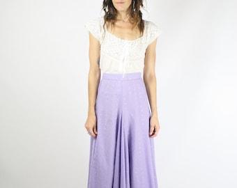 Vintage Broderie Anglaise Skirt, Lavender Swing skirt, Eyelet embroidered Dancing Twirling Full skirt Midi skirt, Medium