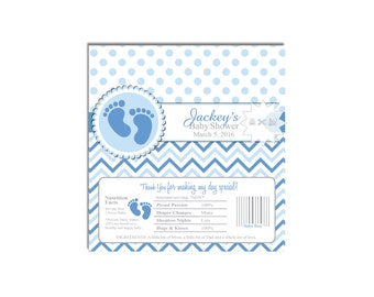Blue Footprints Chocolate Bar Wrapper-Party Favors-Candy Wrapper-Baby Shower-DIGITAL DOWNLOAD
