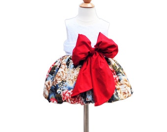 Christmas Toddler Girls Dress - With Large Bow Bash - Holiday Party Toddler Dress - Formal Dress -  KK Children Designs - 6M to 7