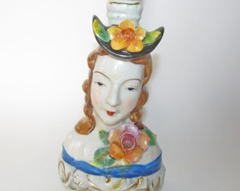 Vintage French Lady Head Lamp Boudoir Lamp Occupied Japan Cordey Style French Provincial Cottage Chic Table or Bedroom Lamp