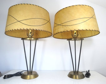 Mid Century Hairpin Lamps // Vintage Pair of 1950's Atomic Era Modern Style Table Lamps with Large Fiberglass Shades Rare Black Tripod Bases