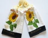 Botanical Sunflower Crochet Top Kitchen Hand Towel Set of 2