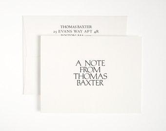 Folded Letterpress Stationery Set - Modern Minimal Style - Custom Printed - Aldine