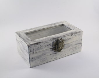 Rustic Ring Bearer Box White Distressed Double Ring Box Personalized Small Jewelry Box with Glass First Haircut