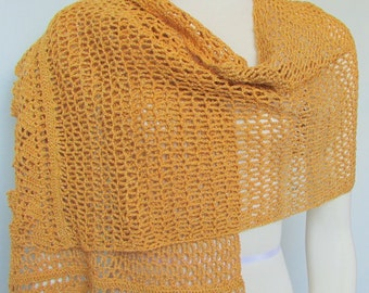 Gold Glitter Evening Stole Crocheted Shawl handmade Scarf lace wrap