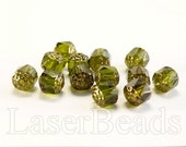 20pc 8mm Cathedral beads Green acorn beads 8mm Czech glass beads Olive green  beads Bronze beads Green fire polished beads 8mm faceted beads