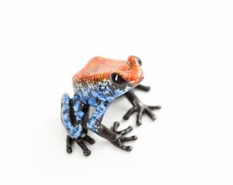 Poison dart frog - medium - red & blue - Bronze