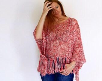 Boho sweater, boho shrug knit, fringe loose knit, summer wrap, boho shrug, fringe poncho, Electra, in mixed red, vegan friendly