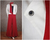 30s 40s sailor linen jacket with scarf offwhite red size S UK 10 12