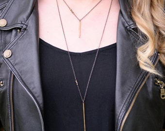 Shaman hammered brass spike bar necklace with pyrite- minimalist gunmetal chain layering necklace- long