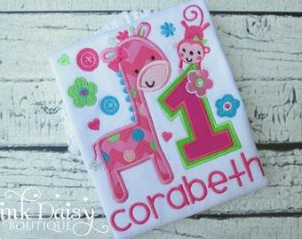 Fun to Be One Birthday Shirt - Girls First Birthday Shirt - Giraffe and Monkey Birthday Shirt - Wild at One - Zoo - Safari - Jungle - Circus