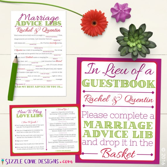 Wedding Vow Mad Libs Printable: Marriage Advice Mad Libs Wedding Guest Book By