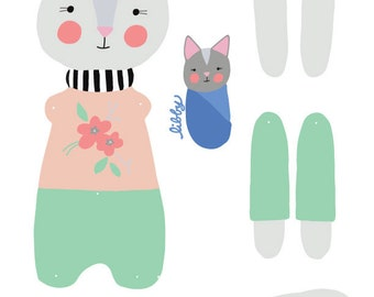 DIY cat paper doll, articulated, Rosey Rag Doll