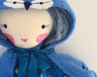 Blue Jayne: rag doll, wing cape, rosey rag doll