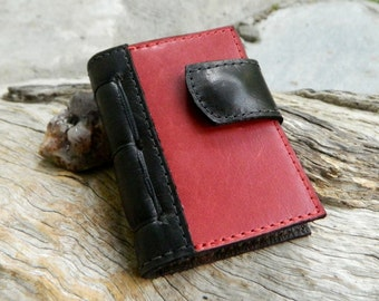 Miniature Notebook Tiny Diary Black and Red Recycled Leather Pixie Pocket Book