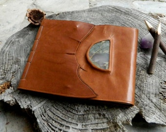 A4 Leather Diary Healing Diary Art Journal With Inlaid Rhyolite and Agate Slab Large Blank Page Notebook