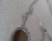 Art Nouveau, Victorian Jewelry, Mirror Pendant with Raised Floral Frame Necklace and Silver Small Link Chain Jewelry