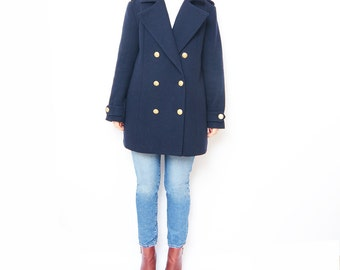 Vintage navy blue wool women peacoat // oversized // straight cut // teget // wool coat // mid length coat // outerwear