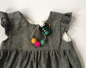 "14"" Toddler Necklace, wool felt balls, essential oil diffuser"