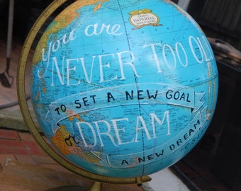 "CUSTOM PAINTED 12"" Vintage Hand Painted C. S. Lewis Quote Globe"