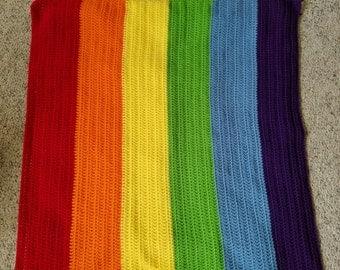 Crochet Rainbow blanket, rainbow blanket, rainbow baby blanket, summer blanket, spring blanket, photo prop, newborn prop