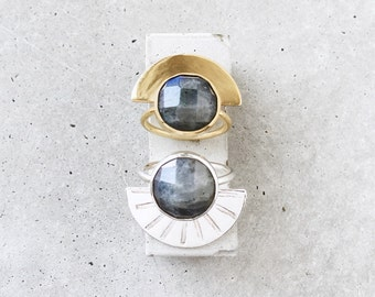 Labradorite Half Moon Ring / 14k gold vermeil denim blue statement ring / size 6