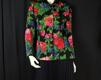 Women's floral wool jacket 80s Escada colorful blazer Pink blue flower black jacket Fitted preppy clothing Vintage designer blazer 8