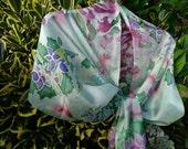 Hydrangeas & Smoke Brush Hand Painted Long Silk Scarf in Green, Purple, and Soft Burgundy