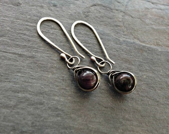Wire wrapped ruby earrings handmade sterling silver jewelry July birthstone gift