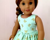 American Girl Clothes Mint Green and Gold Dress