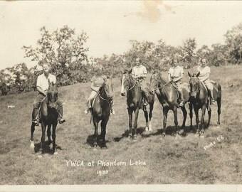 Phantom Lake - Vintage 1930s YWCA Camp Equestrians on Horses Portrait Photograph