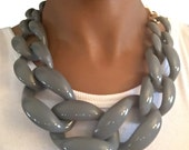Chunky Link Necklace Gray