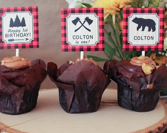 Lumberjack First Birthday Cupcake Toppers boy camping James MB17 Printable
