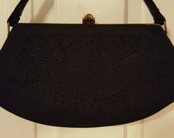40's GENUINE CORDE PURSE // Art Deco Geometric Estate Hipster Retro Black Gold Frame Ladies Who Lunch