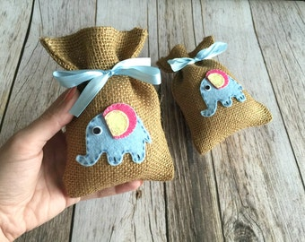 10 elephant baby shower burlap favor bags, baby girl, baby boy.