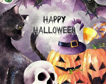 Halloween Watercolor Clipart, Hand Painted Watercolor Clip Art - Watercolor Halloween Illustration, halloween graphics, black cat, witch hat