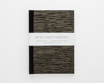 LINES mini sketchbook A6 in minimalist black line pattern