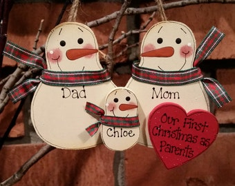 Family of 3: Our First Christmas as Parents - Personalized Snowman Ornament