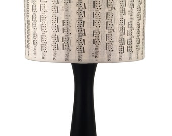 Bold black music notes lamp, Upcycled lighting Chic...