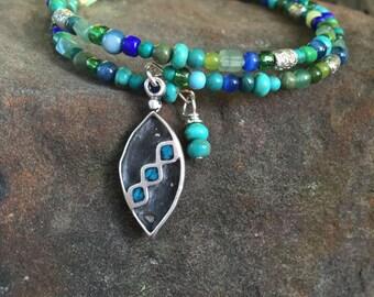 Santa Fe Beaded Memory Wrap Bracelet with Vintage Silver Charm - Bohemian - Boho Chic