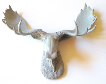 LITE GREY Faux Taxidermy Moose Head wall mount wall hanging / gray anima head faux taxidermie nursery office kids room woodland cabin decor