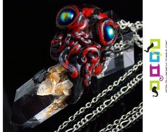 Empowering Quartz Octopet Necklace/Pendulum - Red/Black